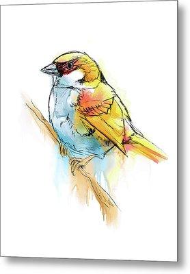 Sparrow Digital Watercolor Painting Metal Print