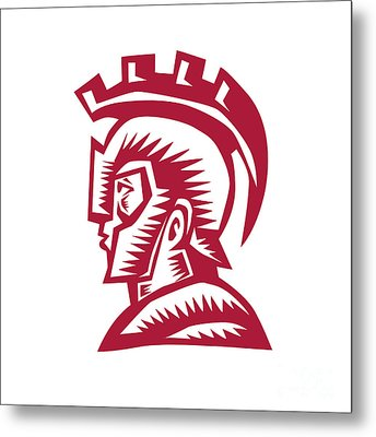Spartan Warrior Helmet Woodcut Metal Print by Aloysius Patrimonio