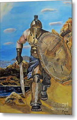 Metal Print featuring the painting Spartan Warrior One Of The Three Hundred by Eric Kempson