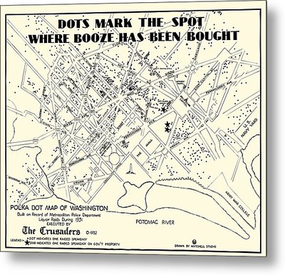 Speakeasy Prohibition Map Of Washington D. C.  1932 Metal Print by Daniel Hagerman