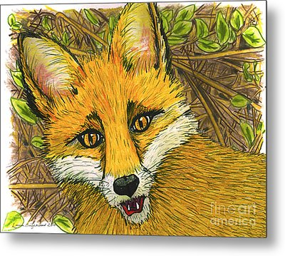 Metal Print featuring the drawing Speaking Fox by Laura Brightwood