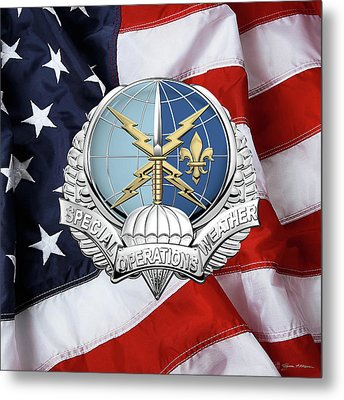 Special Operations Weather Team -  S O W T  Badge Over American Flag Metal Print by Serge Averbukh