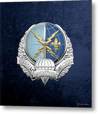 Special Operations Weather Team -  S O W T  Badge Over Blue Velvet Metal Print by Serge Averbukh