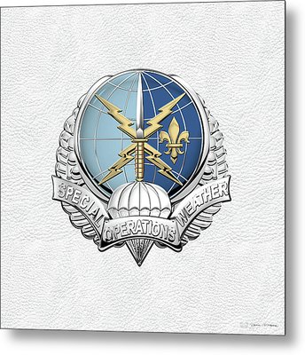 Special Operations Weather Team -  S O W T  Badge Over White Leather Metal Print by Serge Averbukh