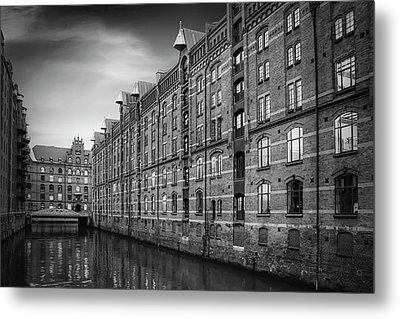 Speicherstadt Hamburg Germany In Black And White Metal Print