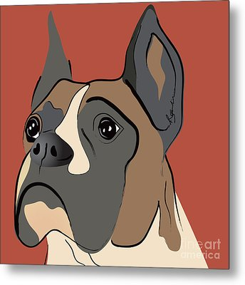 Spencer Boxer Dog Portrait Metal Print