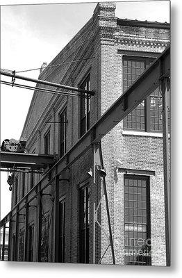 Spencer Shops Crane  B W Metal Print by Robert M Seel