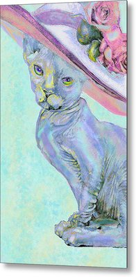 Metal Print featuring the digital art Sphinx In Pink Hat by Jane Schnetlage