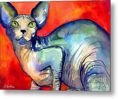 Sphynx Cat 6 Painting Metal Print by Svetlana Novikova