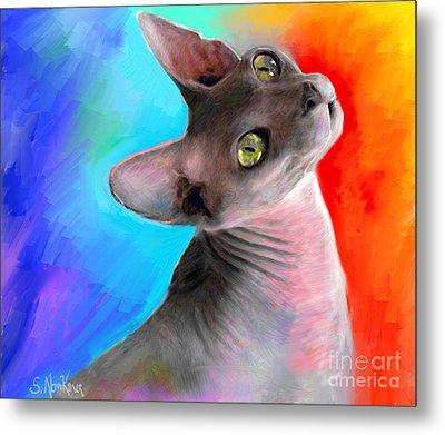 Sphynx Cat Painting Metal Print by Svetlana Novikova