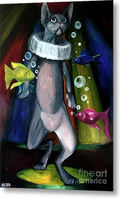 Sphynx Clown Metal Print