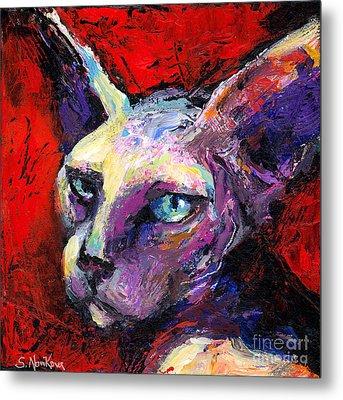 Sphynx Sphinx Cat Painting  Metal Print by Svetlana Novikova