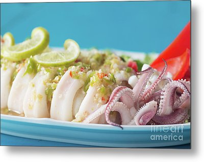 Metal Print featuring the photograph Spicy Food, Steamed Squid by Atiketta Sangasaeng