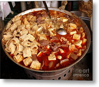 Metal Print featuring the photograph Spicy Tofu Dish With Duck Blood Cakes by Yali Shi