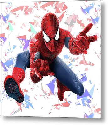 Metal Print featuring the mixed media Spider Man Splash Super Hero Series by Movie Poster Prints