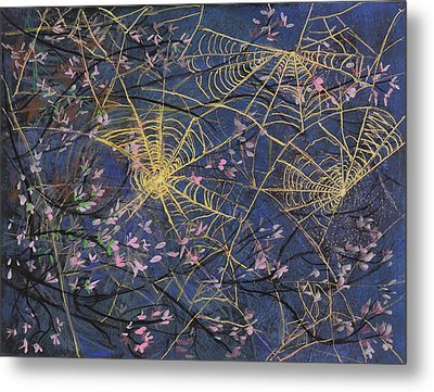 Spider Webs And Bloosoms Metal Print by Ethel Vrana