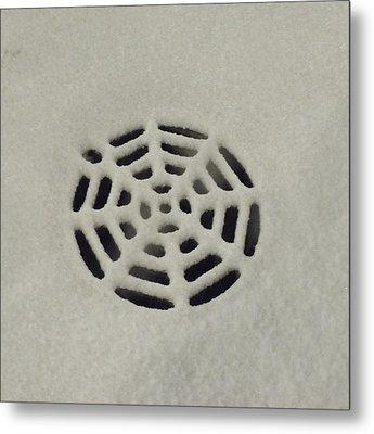 Spiderweb In The Snow Metal Print by Anna Villarreal Garbis