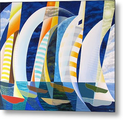 Metal Print featuring the painting Spinnakers Up by Douglas Pike