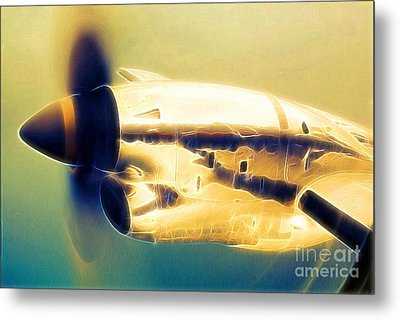 Spinning Propeller Pratt And Whitney Pw118a Turbo-prop In Flight Metal Print by Wernher Krutein