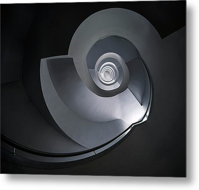 Metal Print featuring the photograph Spiral Staircase In Grey And Blue Tones by Jaroslaw Blaminsky