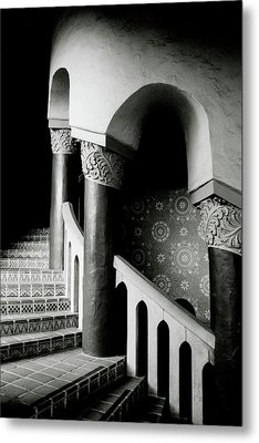 Spiral Stairs- Black And White Photo By Linda Woods Metal Print by Linda Woods