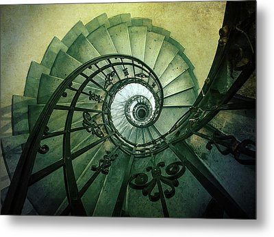 Metal Print featuring the photograph Spiral Stairs In Green Tones by Jaroslaw Blaminsky