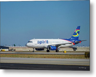 Metal Print featuring the photograph Spirit Airlines Airbus A320 N608nk Airplane Art by Reid Callaway