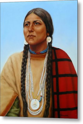 Spirit And Dignity-native American Woman Metal Print by Margaret Stockdale