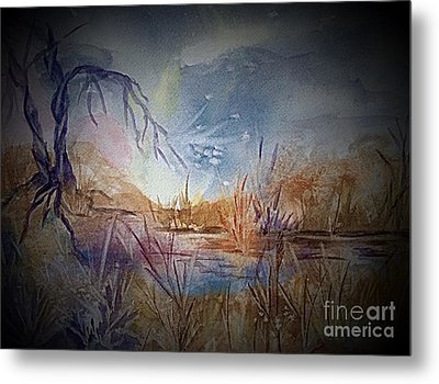 Spirit Lights Over The Marsh Vignette  Metal Print