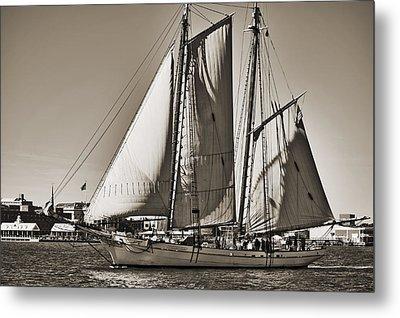 Spirit Of South Carolina Schooner Sailboat Sepia Toned Metal Print