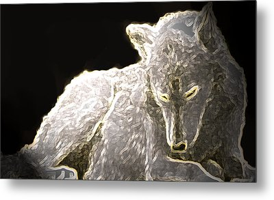 Metal Print featuring the mixed media Spirit Wolf by Debra     Vatalaro