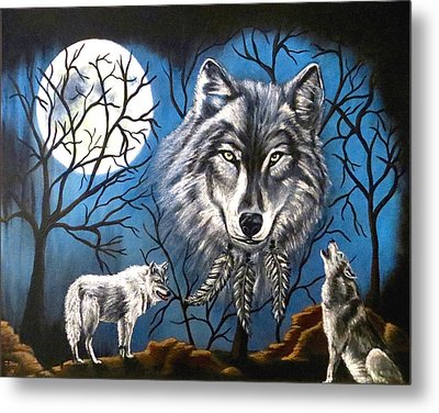 Metal Print featuring the painting Spirit Wolf by Teresa Wing