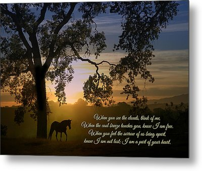 Spiritual Memorial Poem, Horse And Oak Tree Metal Print