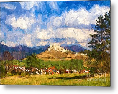 Castle Above The Village Metal Print