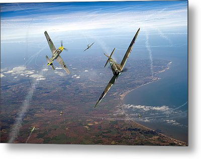 Spitfire And Bf 109 In Battle Of Britain Duel  Metal Print