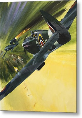 Spitfire And Doodle Bug Metal Print by Wilf Hardy