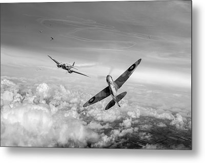 Metal Print featuring the photograph Spitfire Attacking Heinkel Bomber Black And White Version by Gary Eason