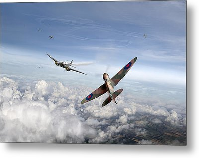 Metal Print featuring the photograph Spitfire Attacking Heinkel Bomber by Gary Eason