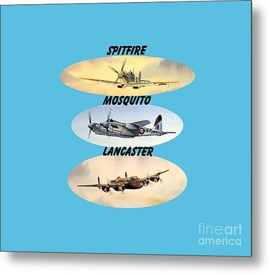 Metal Print featuring the painting Spitfire Mosquito Lancaster Aircraft With Name Banners by Bill Holkham