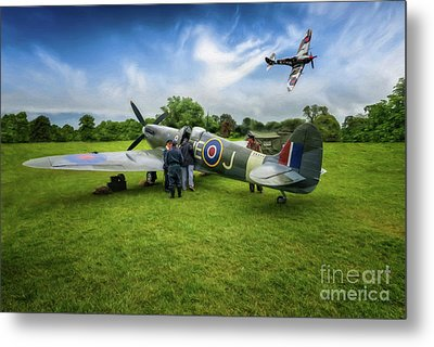 Spitfire Parade Metal Print by Adrian Evans