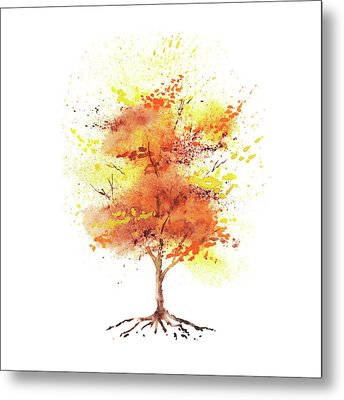 Metal Print featuring the painting Splash Of Fall Watercolor Tree by Irina Sztukowski