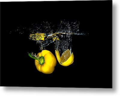 Splash Of  Pepper And Lemon Metal Print