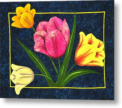 Metal Print featuring the tapestry - textile Splash Of Tulips by Jo Baner