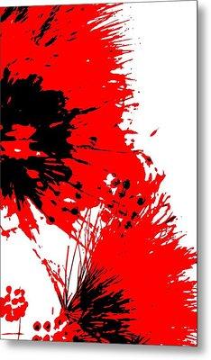 Splatter Black White And Red Series Metal Print