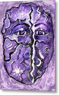 Metal Print featuring the painting Split A Mask by Shelley Bain