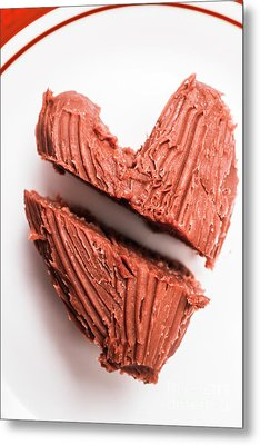 Split Hearts Chocolate Fudge On White Plate Metal Print by Jorgo Photography - Wall Art Gallery