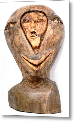 Split Personality. Olive Wood Sculpture Metal Print by Eric Kempson