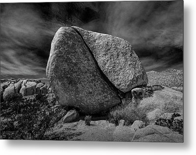 Metal Print featuring the photograph Split Rock In Black And White At Joshua Tree National Park by Randall Nyhof