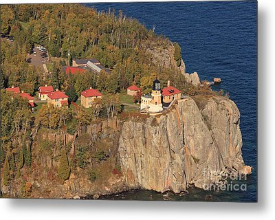 Split Rock Lighthouse Fall Aerial View Metal Print by Tammy Wolfe