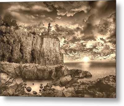 Split Rock Lighthouse Sepia Metal Print